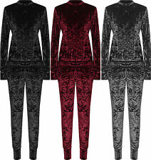 Womens Plus Velour Long Sleeve velvet Set Ladies Co-Ord Suit Top Leggings track