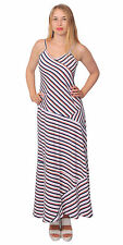 WOMEN'S CASUAL STRIPED MAXI SUMMER LONG SLIP STRAPPY DRESSES SIZE 14 XL