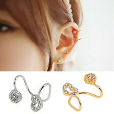 Big SALE 1 Pair Hollow Heart Round Crystal Plated Ear Clip Earring Jewelry Gifr