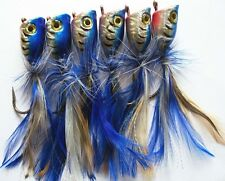 6 X High Quality Medium Surf Poppers Fishing Lure, Blue Laser Colour, Tackle!