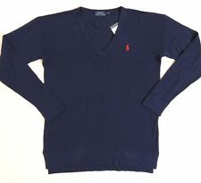 Polo Ralph Lauren Pony V Neck Linen Cotton Knit Sweater Jumper Pullover Top M L