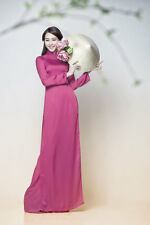 Tahiti Vietnam Ao Dai Custom Made Silk Dress, Satin Pant, Long Sleeves