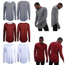 Men Lady Oversize T-Shirt Longline Striped Casual Long Sleeve Extend Tail #1