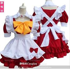 Sweet Lolita Red Maid Short Sleeve Cosplay Dress Bow Gothic Vintage Cute#51-C-2