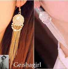 Stylish Silver Gold Crystal Dangle Drop Hook Chandelier Ear Earrings UK Seller