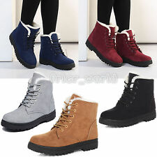 LADIES WOMENS ARMY COMBAT FLAT SOLE FUR LINED WINTER LACE UP ANKLE BOOTS SHOES