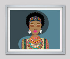 African Woman Art Print African American Home Decor Black Woman Poster Painting