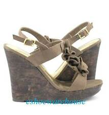 Awesome Cutie Sweet Ruffle T Strap Wedges Sandals Taupe