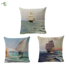 Sailing Boats Cushion Covers  Cotton Linen Throw Pillow Case