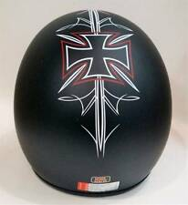 THH T-380 Open Face Motorcycle Helmet - Matt Black/ Maltese Cross