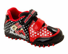 GIRLS OFFICIAL DISNEY MINNIE MOUSE RED BLACK TRAINERS SHOES UK SIZE 6-12
