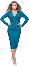 BLUE WOMEN'S DRAPED WRAP MIDI EVENING COCKTAIL PARTY DRESS LONG SLEEVE V NECK