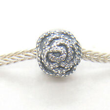 Authentic Genuine S925 Sterling Silver Shimmering Rose Clip Charm bead