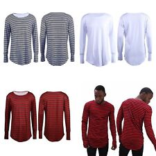 Men Lady Longline T-Shirt Curved Oversize Long Sleeve Stripe Top Extend Tail #2