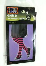 TOTALLY GHOUL Child Striped Tights 1 pair Halloween NEW Large Age 8+ pink black