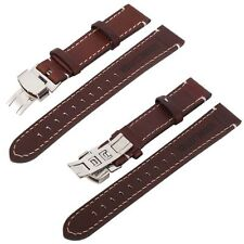 Genuine Leather Stainless Steel Butterfly Clasp Buckle 18-22mm Watch Band Strap