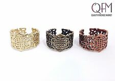 5 pcs Adjustable Filigree Ring Antique and Shiny Brass, Antique Copper plate