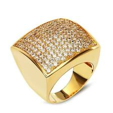 Luxury Men's Wedding Ring Dubai Fashion Engagement Islamic 18K Gold Plated CZ