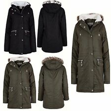 New Womens Ladies Luxuary Fleece Parka Jacket Coat Faux Fur Hooded Size S TO XL