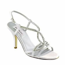 Dyeables Elsa White Satin Dress Sandal Special Occasion Prom Homecoming Bridal