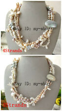 4Strands White Pink Lavender Gray Rice Baroque Biwa Freshwater Pearl Necklace
