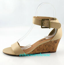 Nude Beige Cutie Ankle Strap Trend  Low Mid Wedge Single Band Sandals Shoes