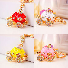 Newly Pumpkin Carriage Keyring Crystal Charm Pendant Purse Bag Key Chain Gift