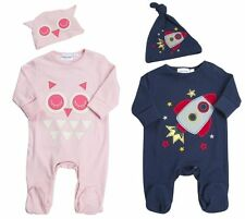 Babytown Baby Boys Rocket Babygrow Newborn Girls Owl 2 Pk Sleepsuit Hat Gift Set