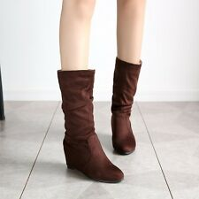 Womens High Hidden Wedge Heels Faux Suede Mid Calf Boots Slouch Casual Round Toe