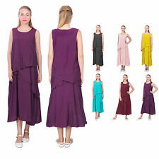 WOMENS ELEGANT LOOSE LAYERED TUNIC MIDI DRESS ORGANIC SILK COTTON LINEN DRESSES