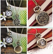 Vintage Womens Retro Bronze Quartz Pocket Watch Pendant Chain Necklace Watches