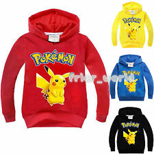 Kids Boys Girls Pokemon Go Hoodies Pikachu Sweater Shirt Long Sleeve Jumper Tops