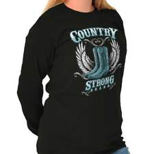 Country Strong Boots Wings Rodeo Western Cowgirl Gift Ideas Long Sleeve Tee