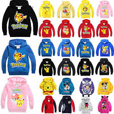 Kids Pikachu Hooded Hoodies Boys Girls Cartoon Sweatshirt Pullover Tops Clothing