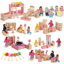 Wooden Furniture House Family Miniature Dolls Kid Children Pretend Role Play Toy