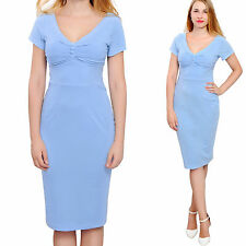 BLUE WOMEN'S SUMMER VINTAGE 1960S WIGGLE PENCIL SHEATH MIDI DRESSES DAY EVENING