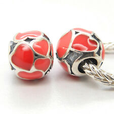 Authentic Genuine S925 Silver Red Hot Hearts enamel Charm Bead