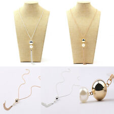 Fashion Elegant Two Round Beads Pearl Pendant long Chain Women Necklace Jewelry
