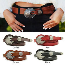 "Women Leather Narrow Skinny Western Designer Wasit Belt Round Buckle 0.6"" Wide"