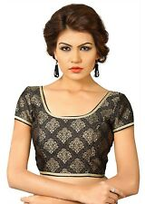 Saris and Things Black Brocade Fancy Back Open Saree Blouse Choli