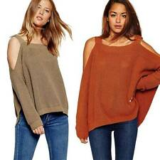 Womens Lady  Oversized Knitted Sweater Batwing Sleeve Tops Cardigan Outwear Coat
