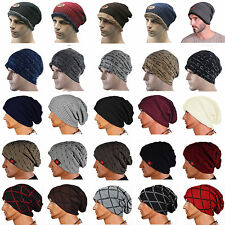 Mens Womens Beanie Hat Winter Warm Baggy Knit Slouchy Oversized Ski Cuffed Cap