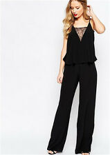 Women Jumpsuits Backless Lace Deep V-neck Casual Loose Pants Rompers Trousers