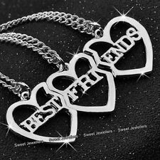 3 Part Matching Silver Heart Necklaces - Girlfriends Sisters Xmas Gifts For Her