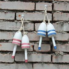 1 Pair Mediterranean Hand Carved Wood Buoy Craft Floater Rope Hanging Decor DIY