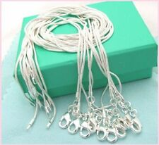 Free shipping wholesale 5PCS sterling solid silver 1MM snake chain necklace16-24