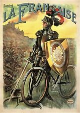 Vintage French La Francaise Bicycle Knight Advertisment Poster Art Print A3 A4