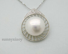 Huge 14mm AAA++ White Bread South Sea Pearl Pendant Sterling 925 Silver Chain