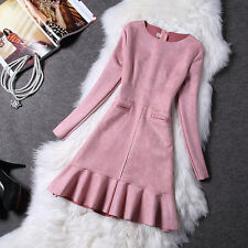New Fashion Women Suede Slim Long Sleeve Elegant Casual Fishtail Party Dress