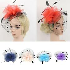 Wedding Party Bridal Ladies Prom Mesh Veil Feather Fascinator Hair Clip Mini Hat